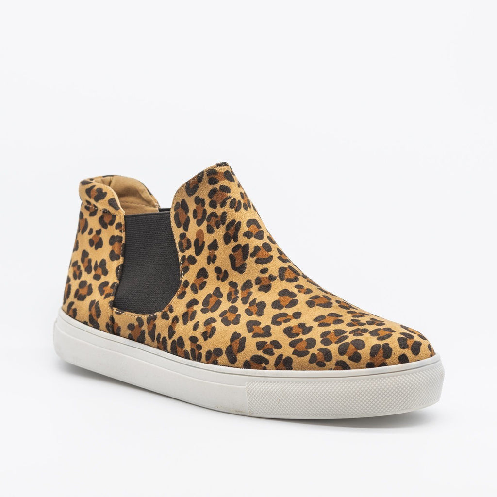 Womens Wild Leopard Print Slip-On Ankle Sneakers - Soho Girls - Leopard / 5