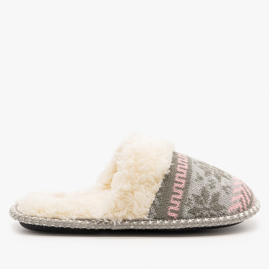 Womens Winter Knit Faux Fur Slippers - Via Pinky - Pink / 5