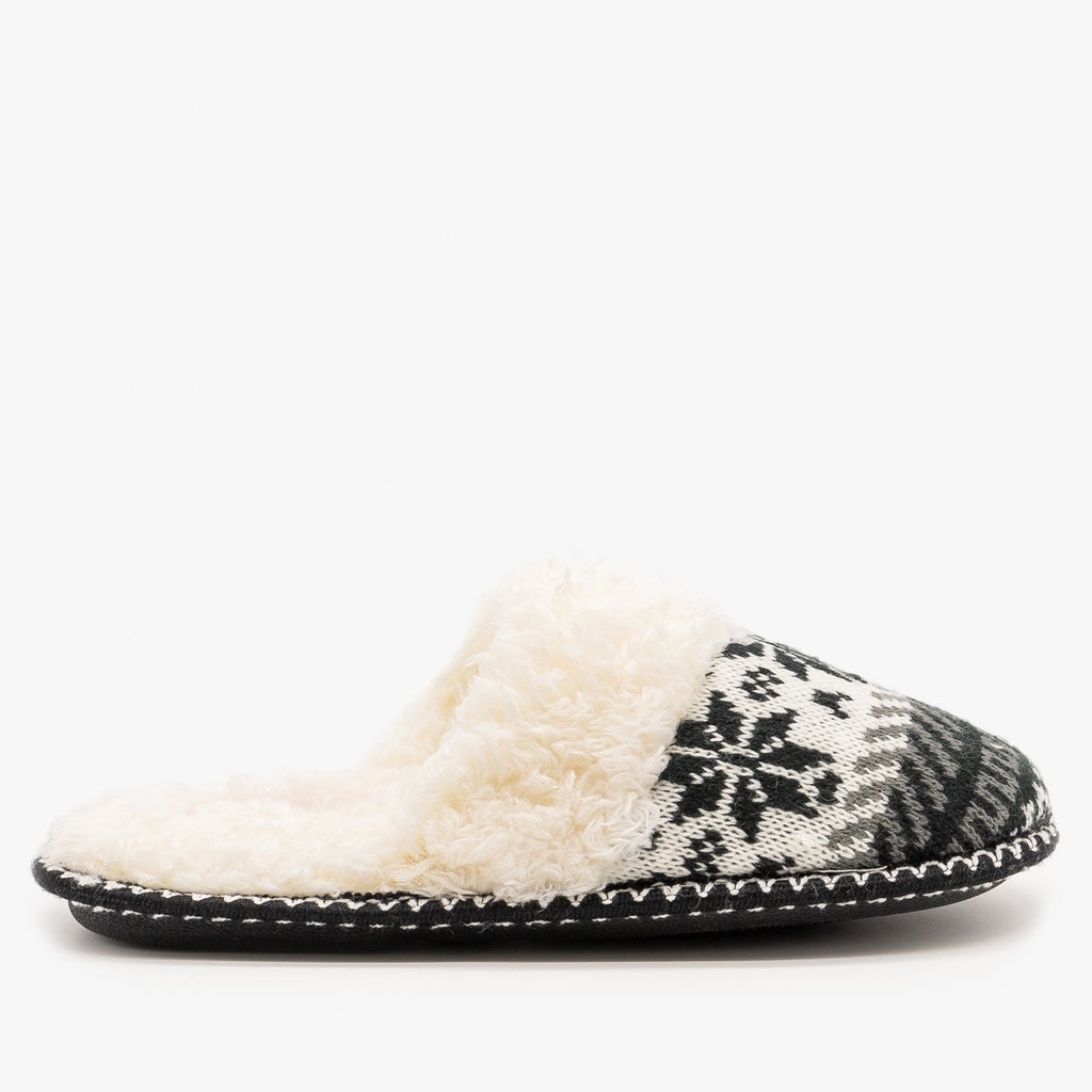 Womens Winter Knit Faux Fur Slippers - Via Pinky - Black / 5