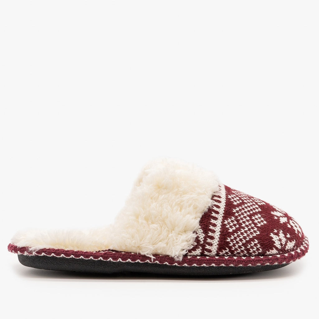 Womens Winter Knit Faux Fur Slippers - Via Pinky - Wine / 5