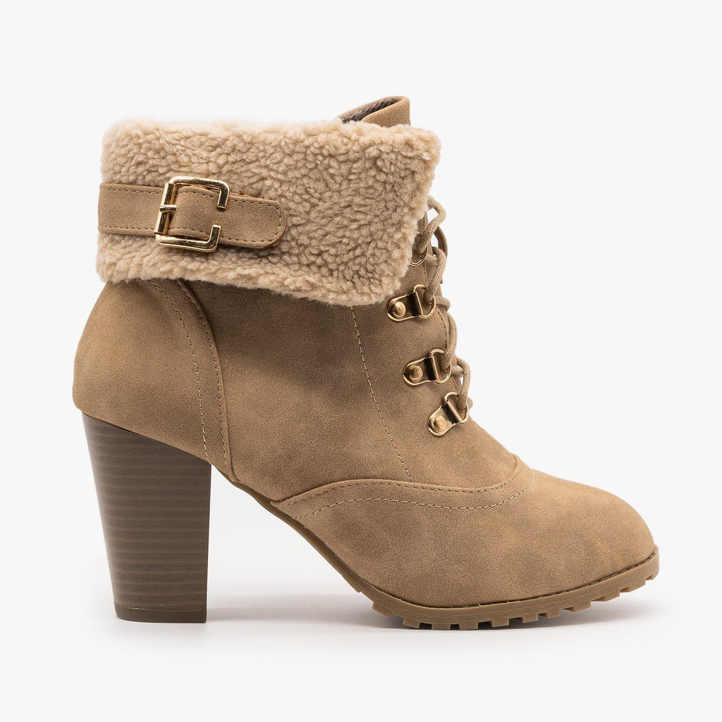 Womens Wintry High Heeled Booties - Lucita Shoes - Khaki / 5