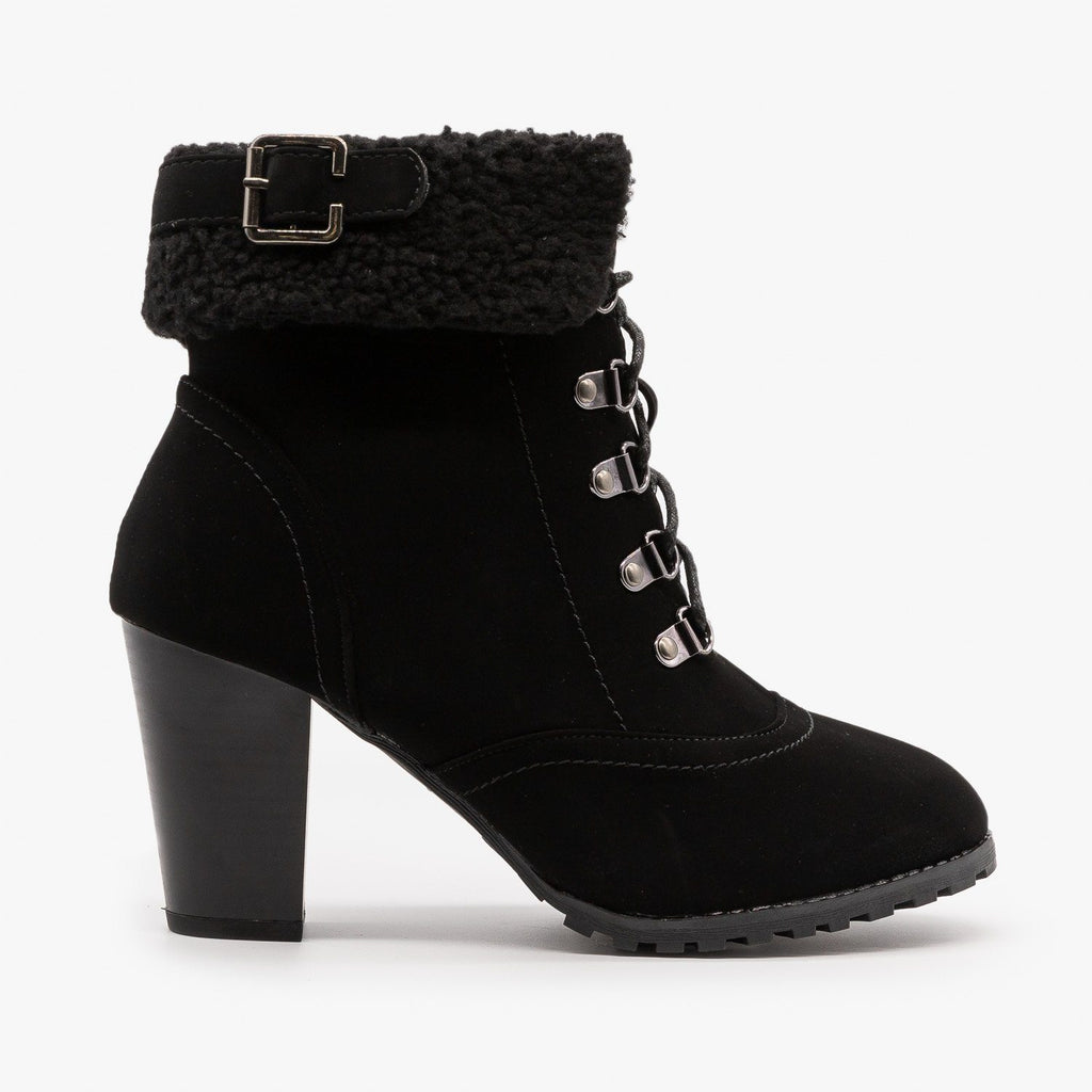 Womens Wintry High Heeled Booties - Lucita Shoes - Black / 5