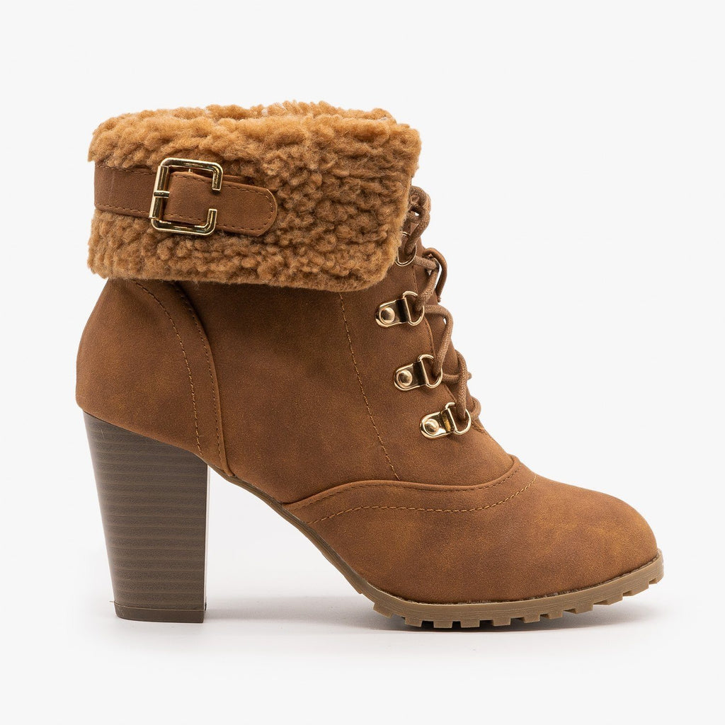 Womens Wintry High Heeled Booties - Lucita Shoes - Camel / 5