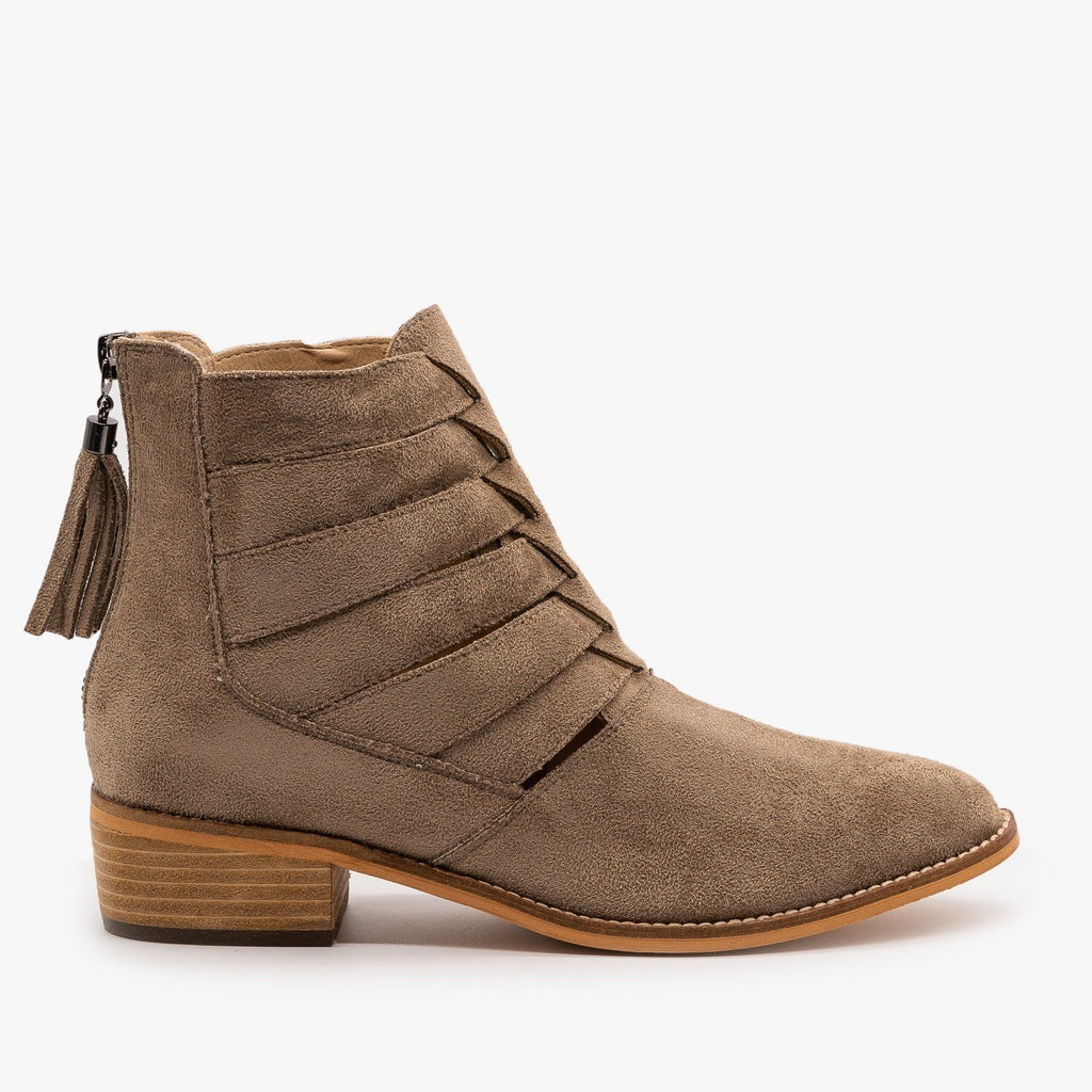 Womens Woven Ankle Booties - Arider Girl - Taupe / 5