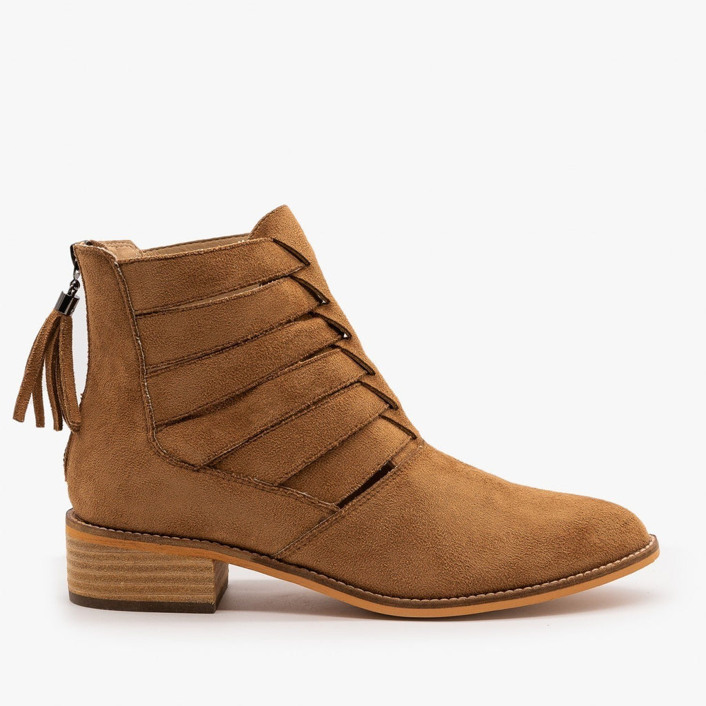 Womens Woven Ankle Booties - Arider Girl - Whisky / 5