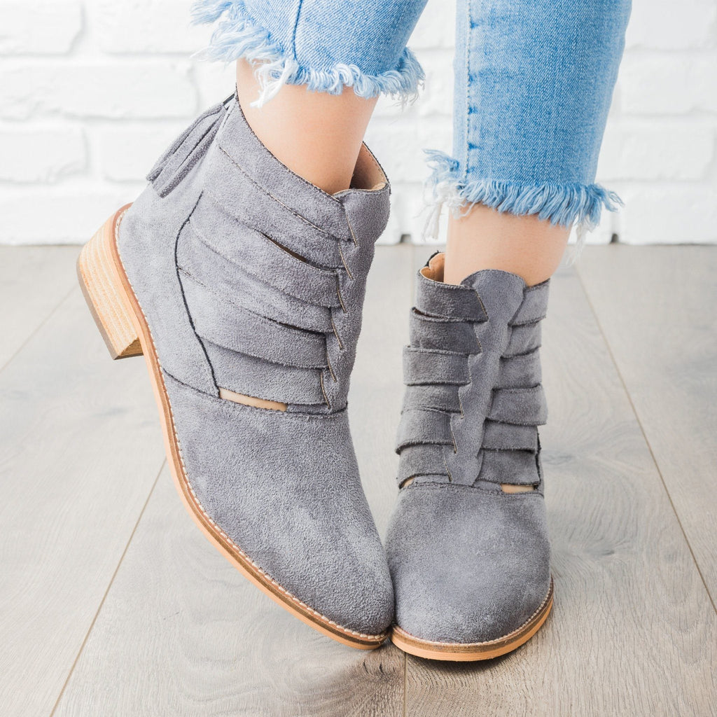 Womens Woven Ankle Booties - Arider Girl - Gray / 5
