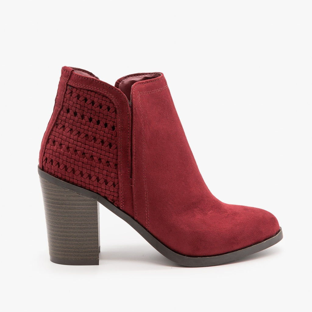 Womens Woven Ankle Booties - Bamboo Shoes - Burgundy / 5