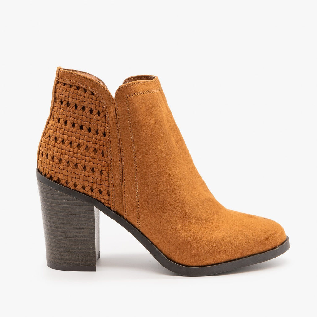 Womens Woven Ankle Booties - Bamboo Shoes - Dark Camel / 5