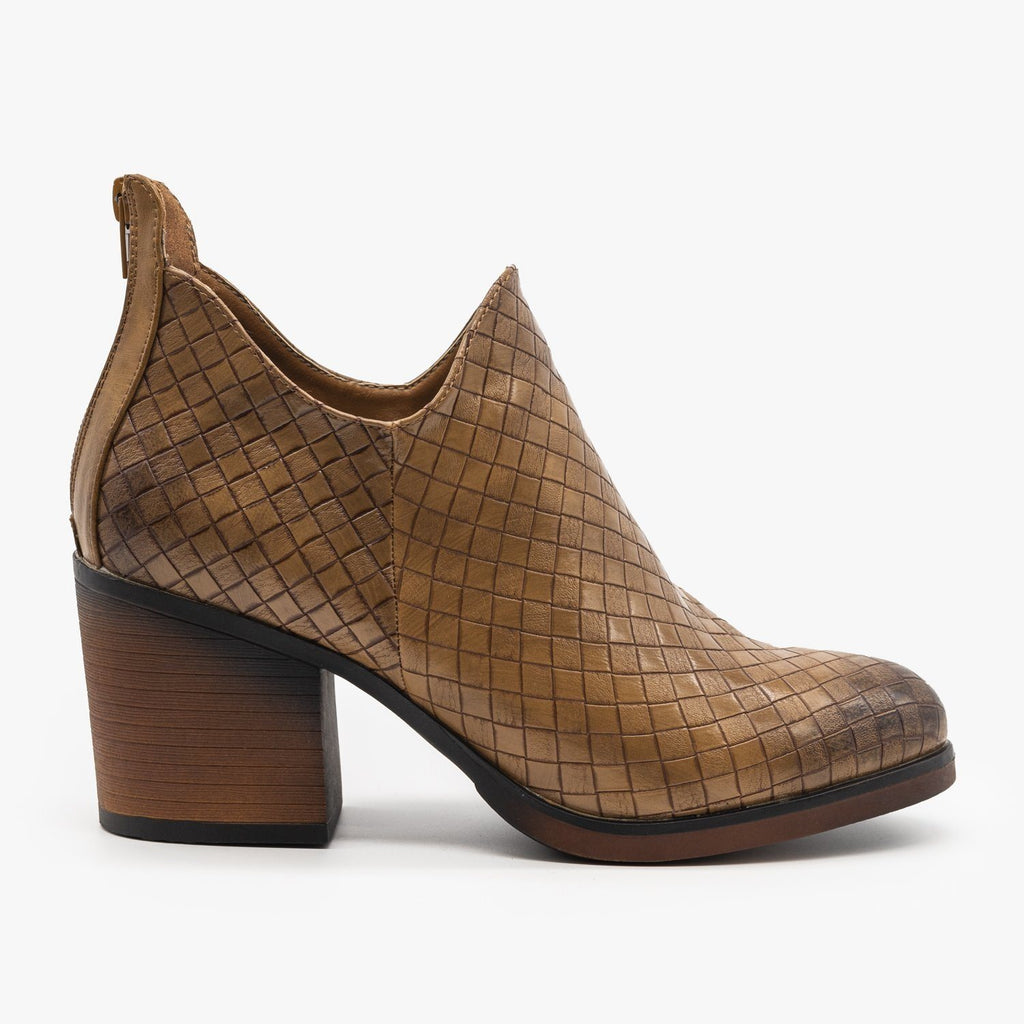 Womens Woven Ankle Booties - Mata - Taupe / 5