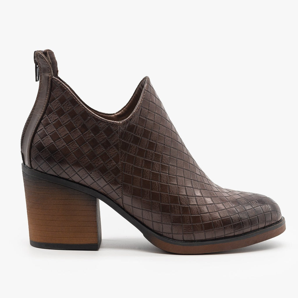 Womens Woven Ankle Booties - Mata - Brown / 5