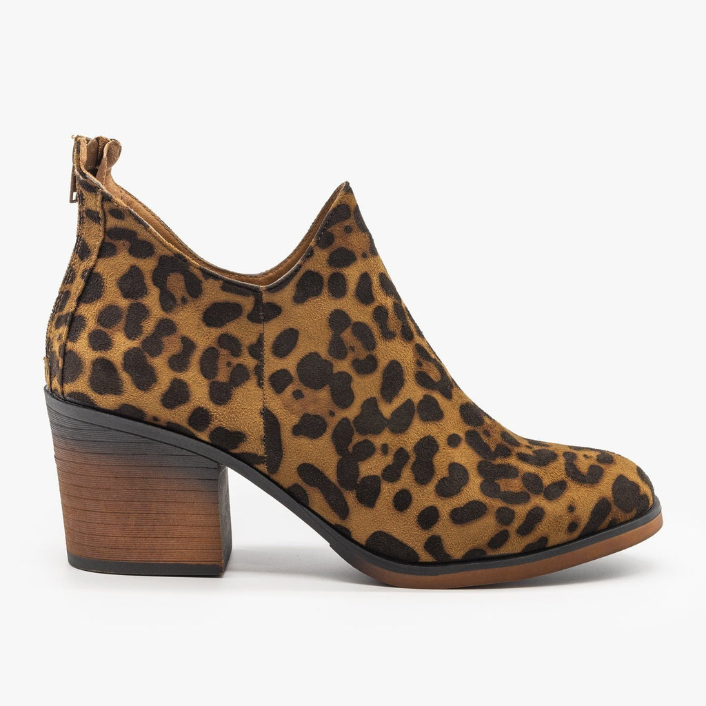 Womens Woven Ankle Booties - Mata - Leopard / 5