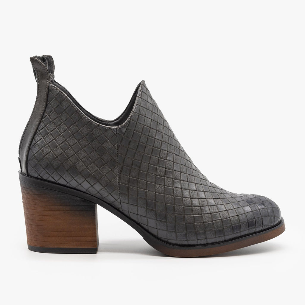 Womens Woven Ankle Booties - Mata - Gray / 5