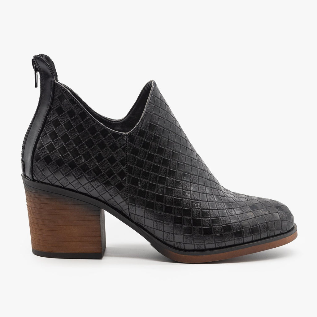 Womens Woven Ankle Booties - Mata - Black / 5