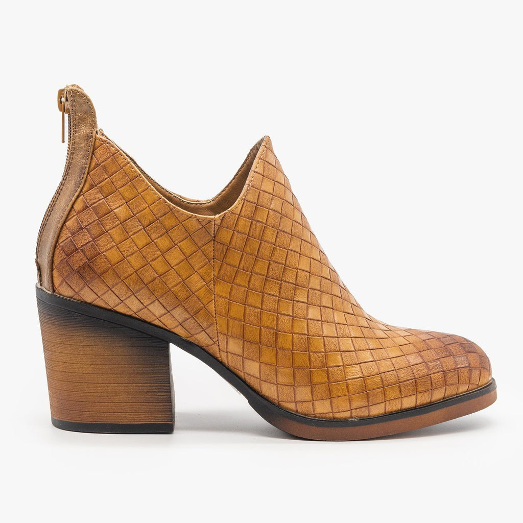 Womens Woven Ankle Booties - Mata - Tan / 5