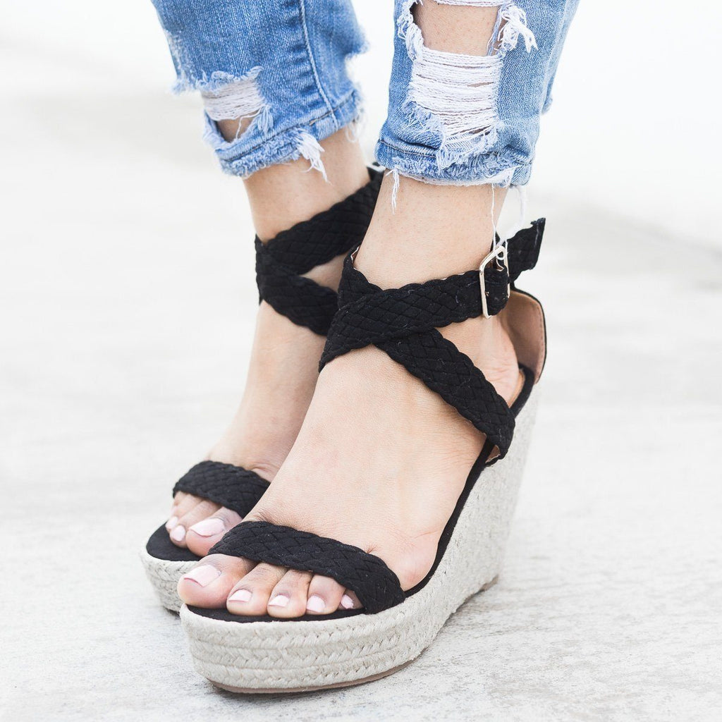 Womens Woven Criss Cross Espadrille Wedges - Qupid Shoes