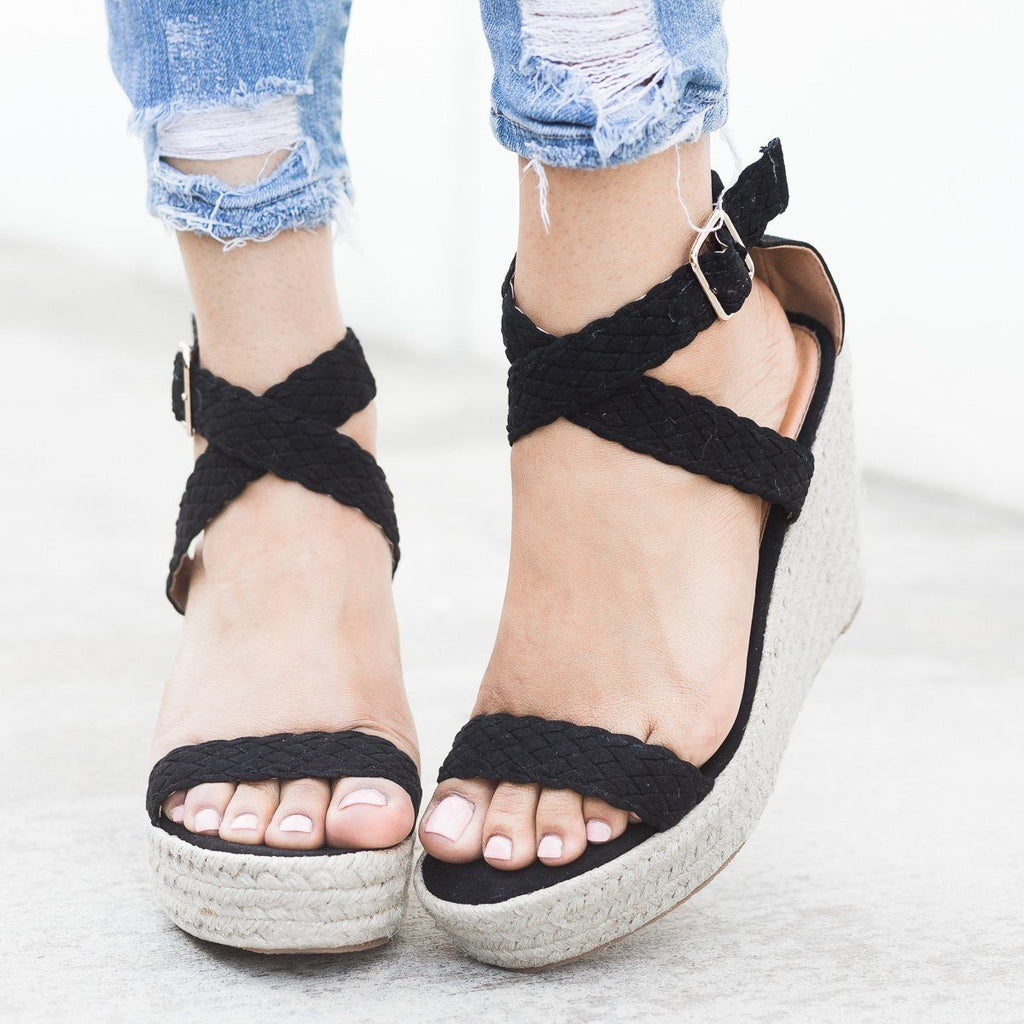 Womens Woven Criss Cross Espadrille Wedges - Qupid Shoes - Black / 5