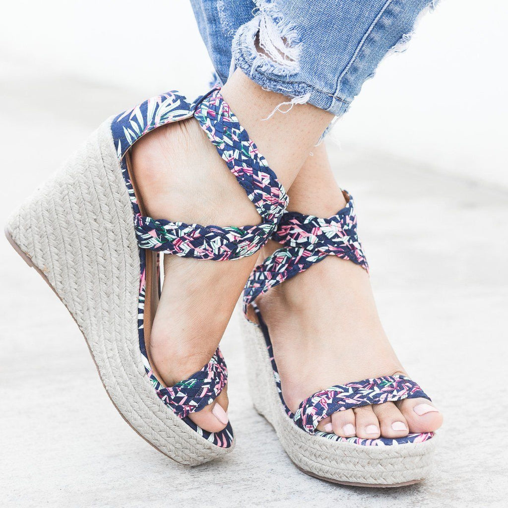Womens Woven Criss Cross Espadrille Wedges - Qupid Shoes - Blue Fuchsia / 5