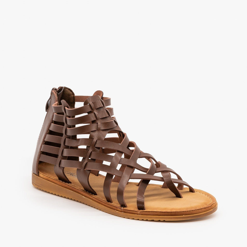 Womens Woven Gladiator Sandals - Forever - Brown / 5