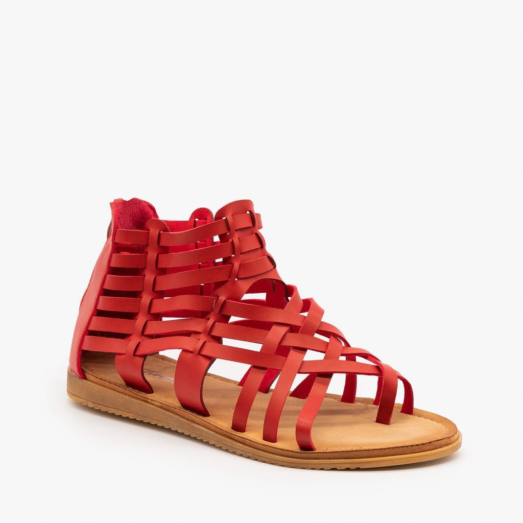 Womens Woven Gladiator Sandals - Forever - Red / 5