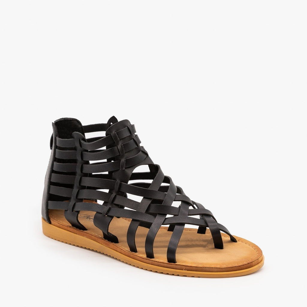 Womens Woven Gladiator Sandals - Forever - Black / 5