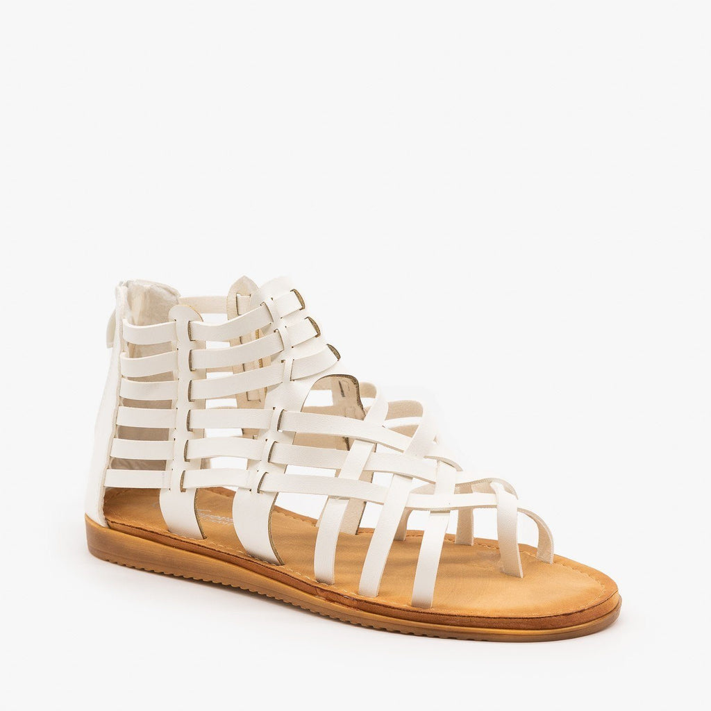 Womens Woven Gladiator Sandals - Forever - White / 5