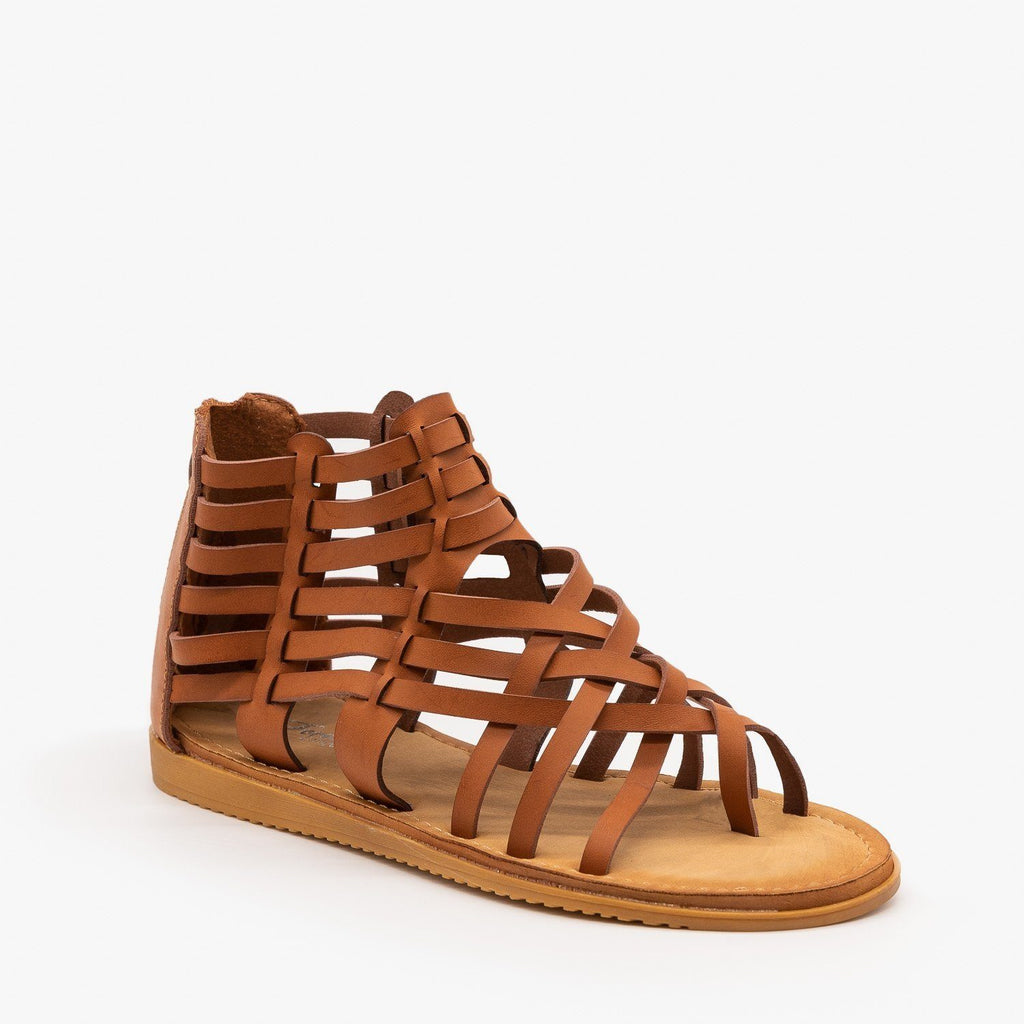 Womens Woven Gladiator Sandals - Forever - Tan / 5