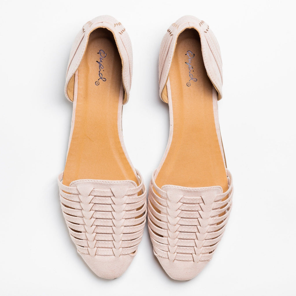 Womens Woven Huarache Flats - Qupid Shoes - Nude / 5