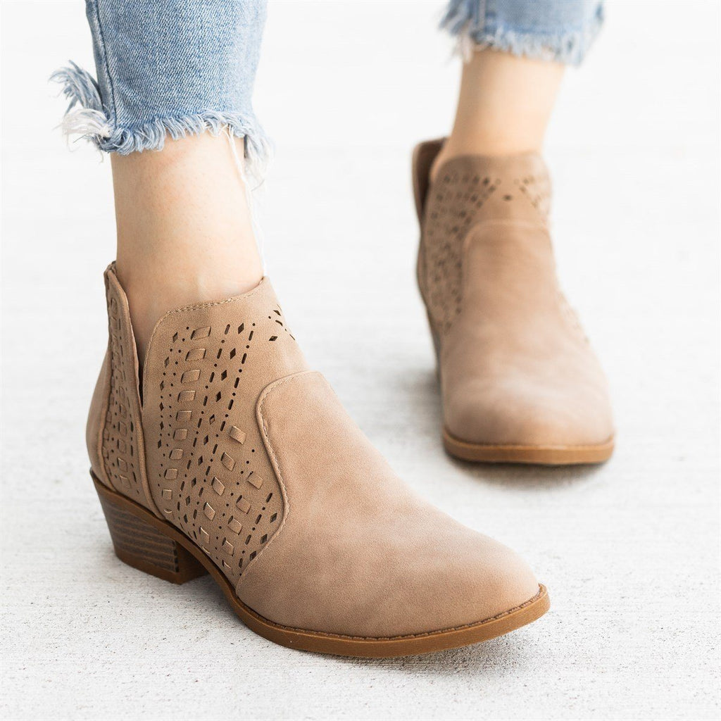 Womens Woven Laser-Cut Ankle Booties - Top Moda - Khaki / 5