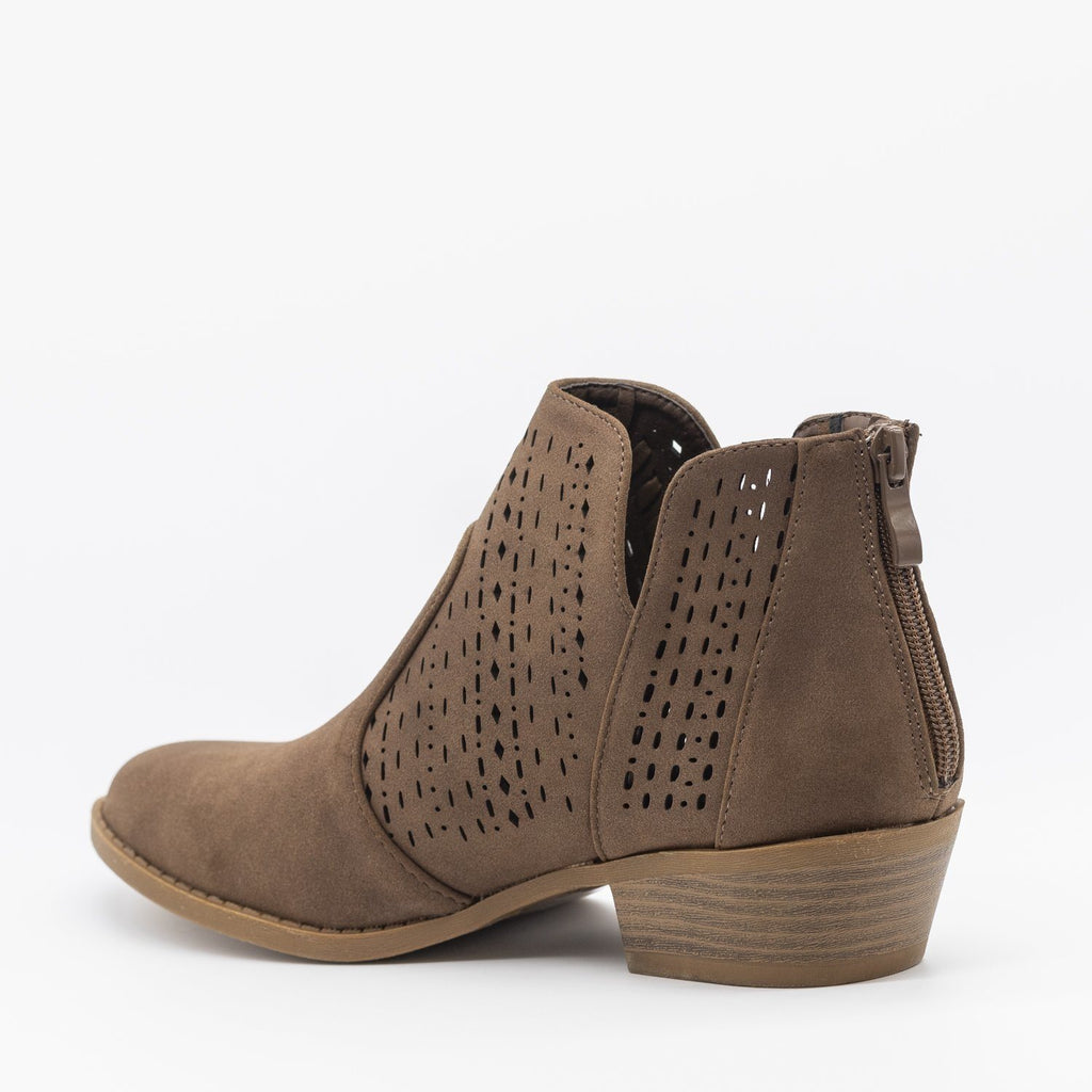 Womens Woven Laser-Cut Ankle Booties - Top Moda