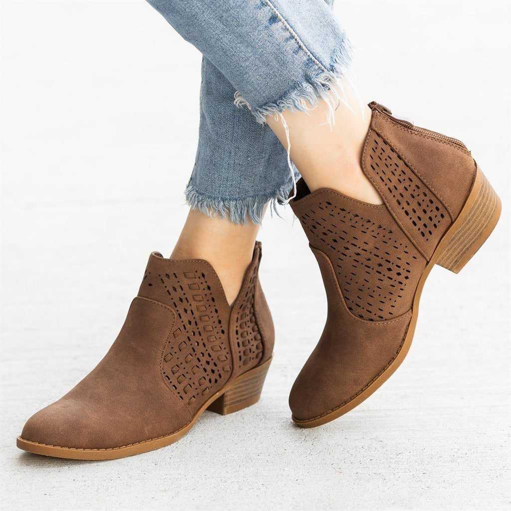 Womens Woven Laser-Cut Ankle Booties - Top Moda - Brown / 5