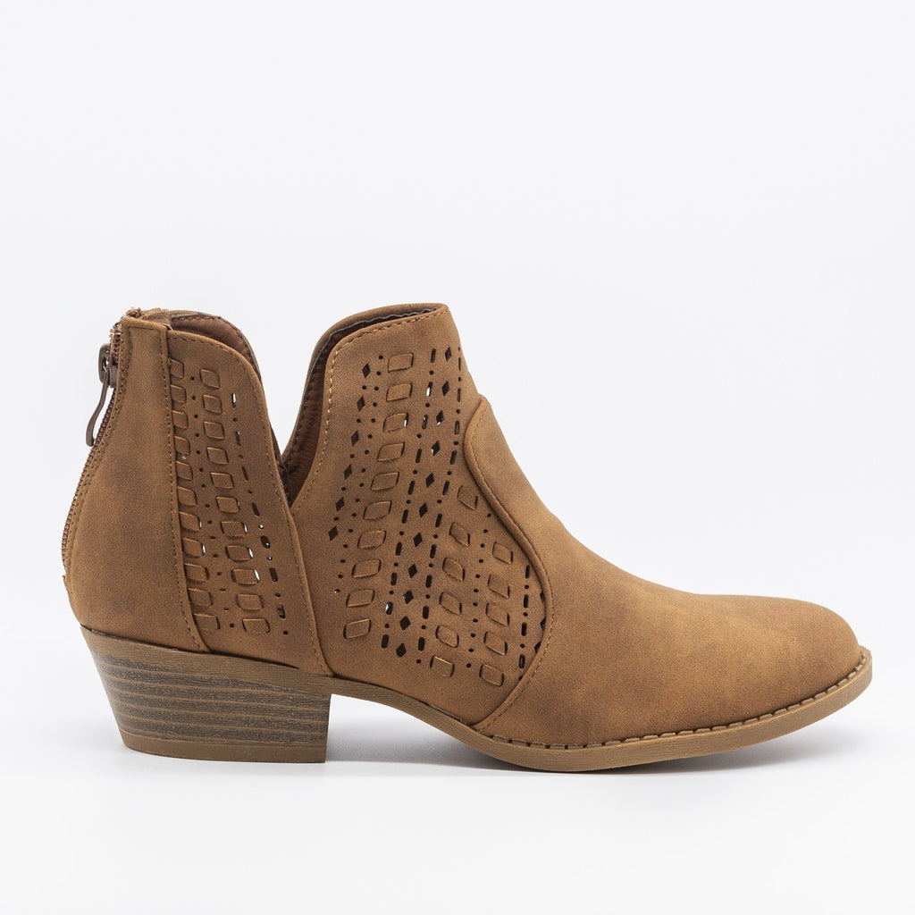 Womens Woven Laser-Cut Ankle Booties - Top Moda - Tan / 5