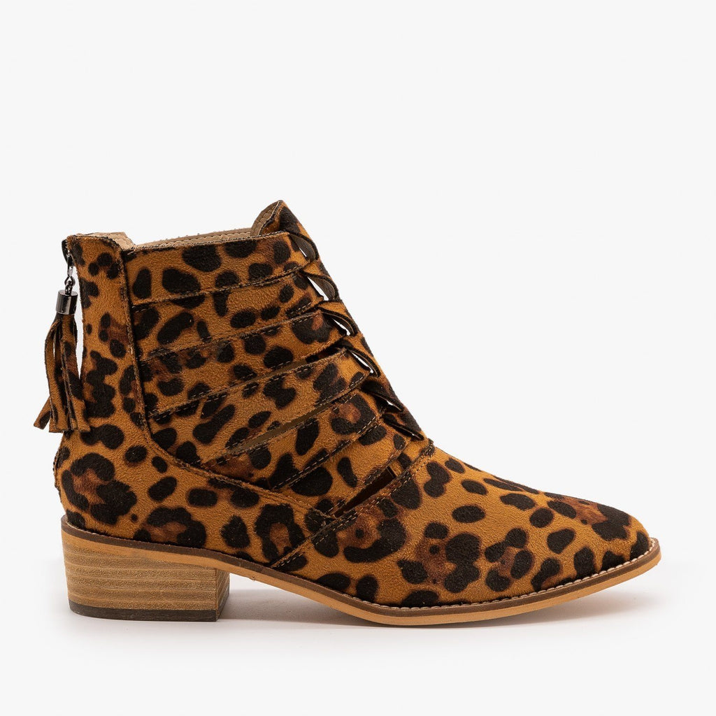 Womens Woven Leopard Print Ankle Booties - ARider Girl - Leopard / 5