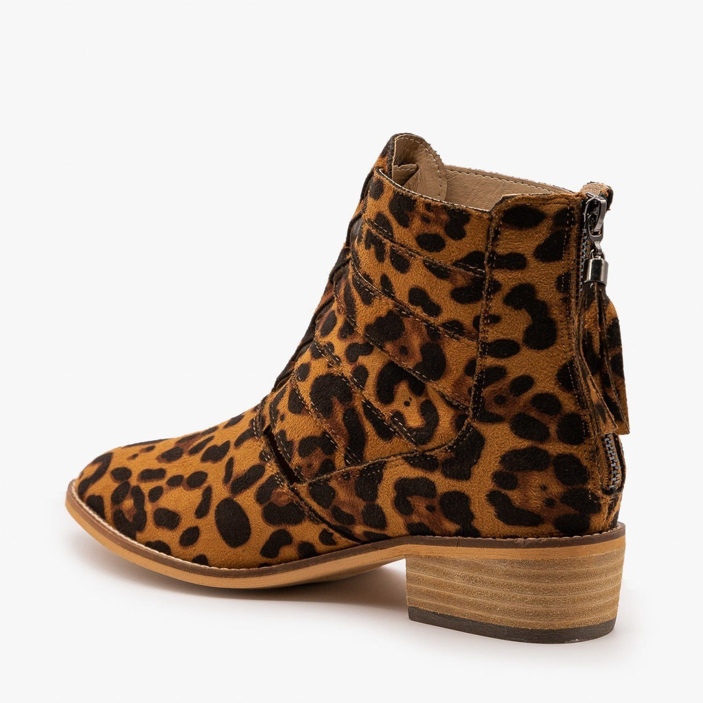 Womens Woven Leopard Print Ankle Booties - ARider Girl