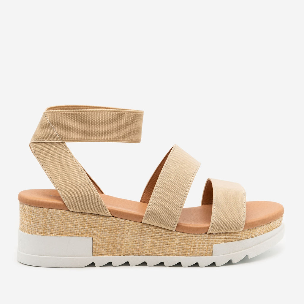 Women's Woven Platform Sandals - Top Moda - Beige / 5
