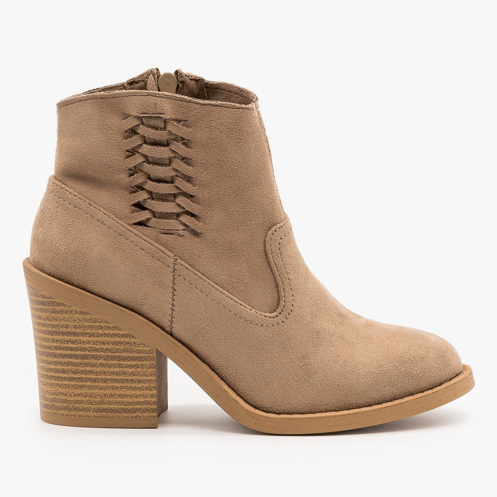 Womens Woven Side Accent Booties - Qupid Shoes - Taupe / 5