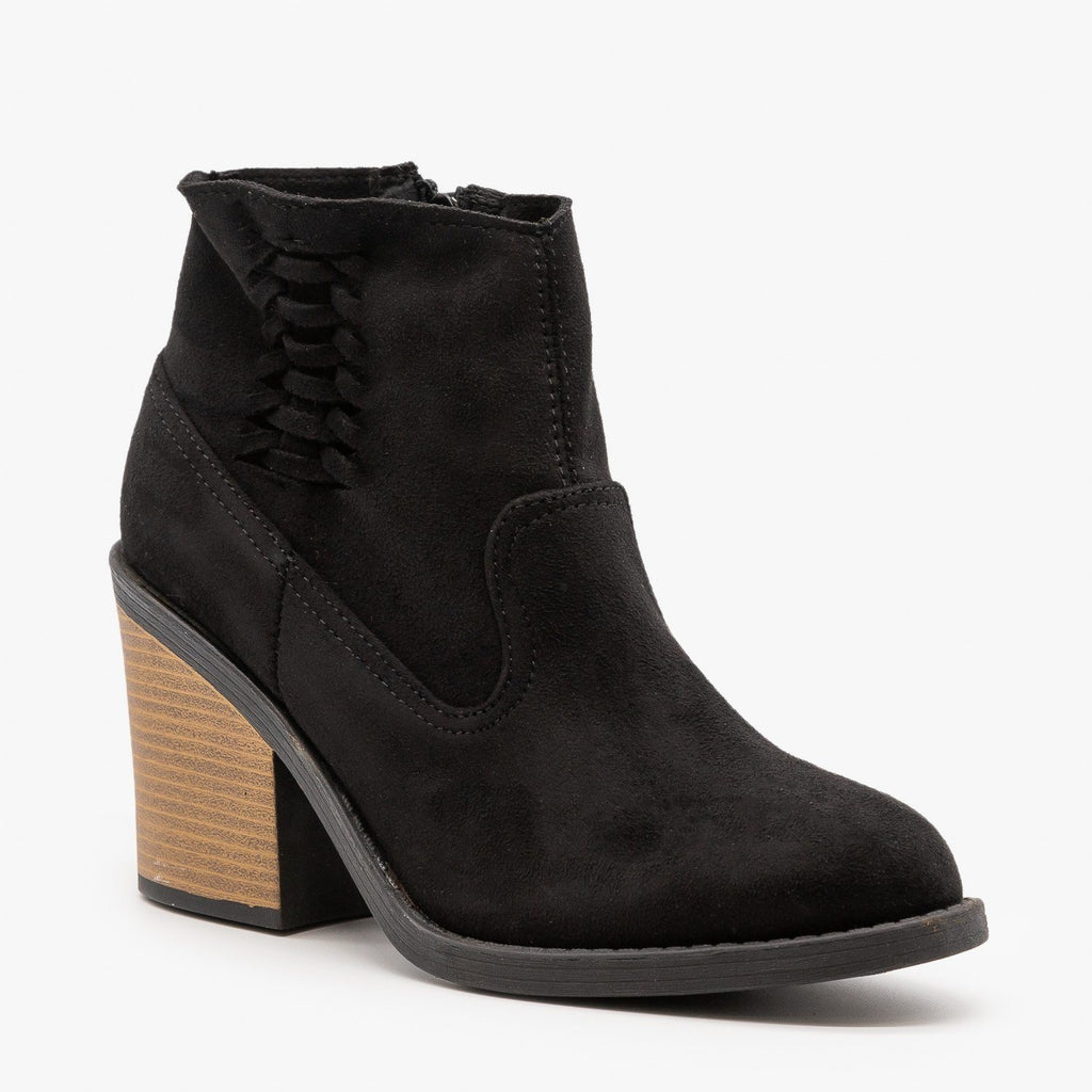 Womens Woven Side Accent Booties - Qupid Shoes