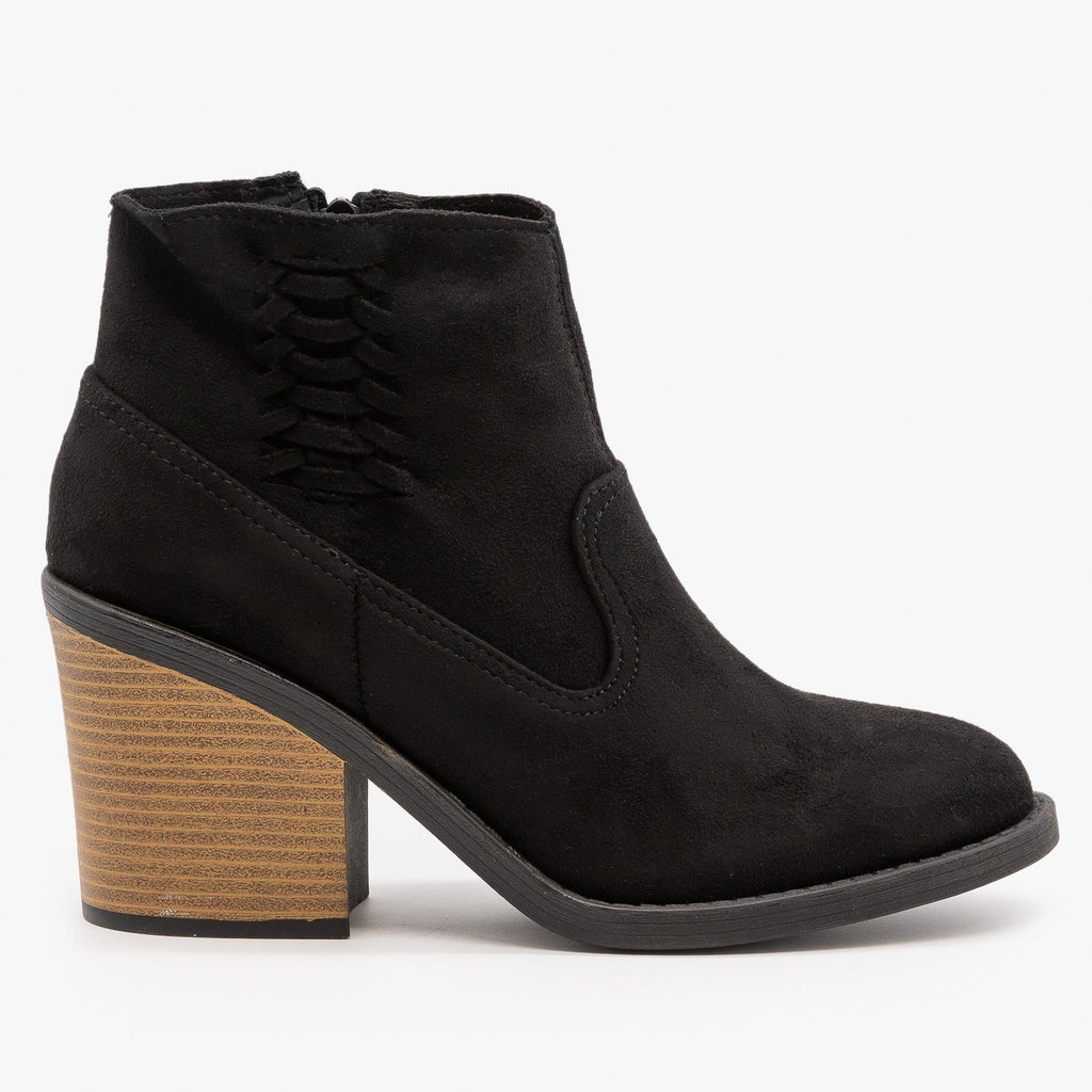 Womens Woven Side Accent Booties - Qupid Shoes - Black / 5