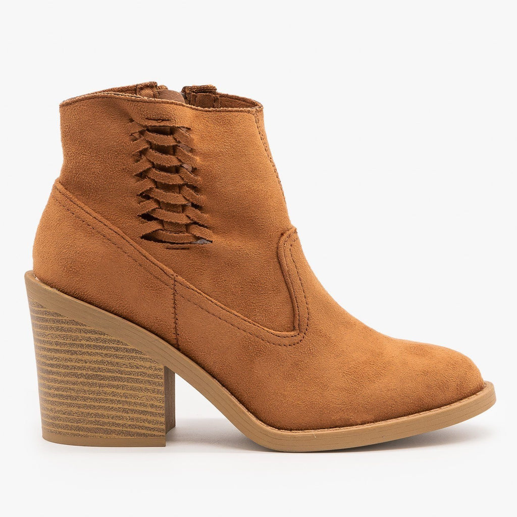 Womens Woven Side Accent Booties - Qupid Shoes - Camel / 5