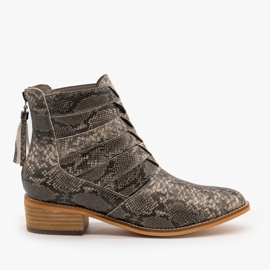 Womens Woven Snake Print Ankle Booties - ARider Girl - Snake / 5