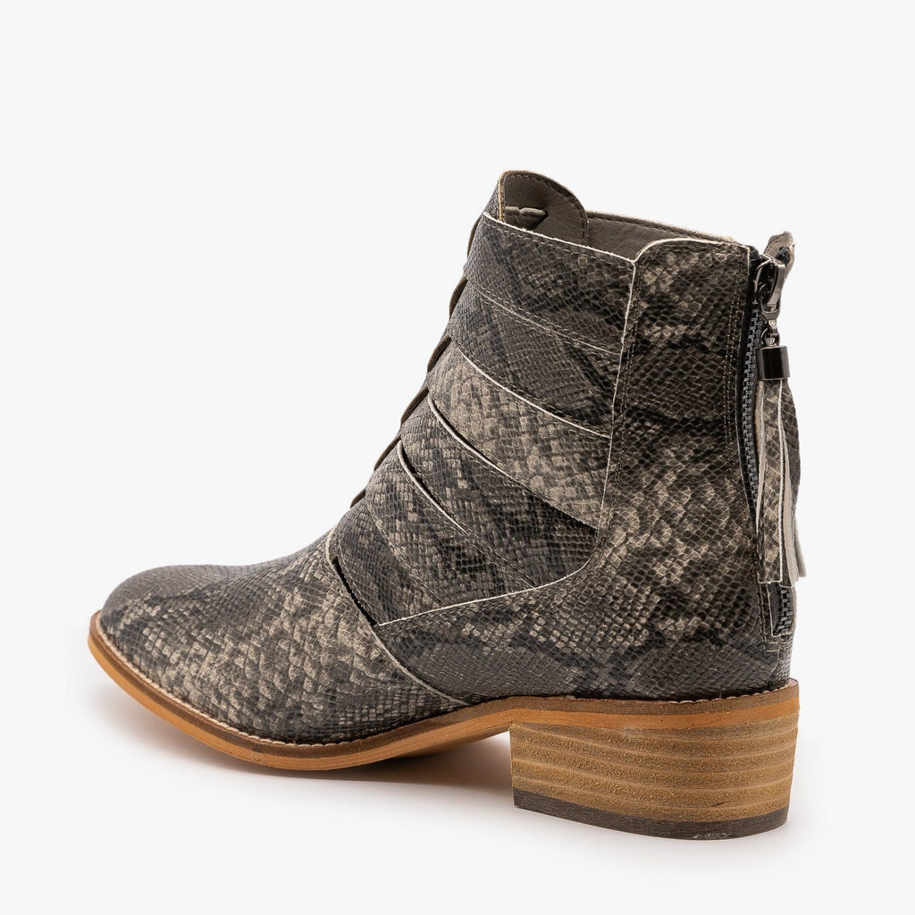 Womens Woven Snake Print Ankle Booties - ARider Girl