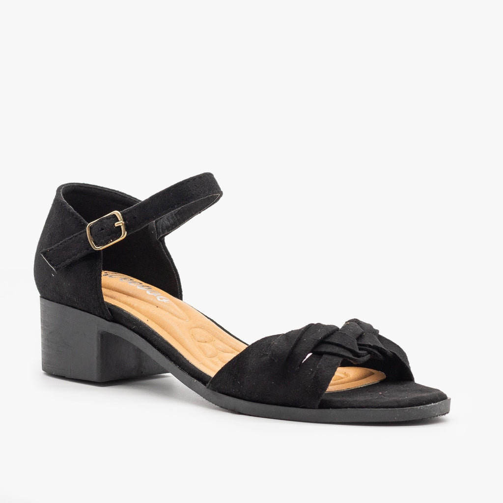 Womens Woven Strap Low Block Heels - Weeboo - Black / 5