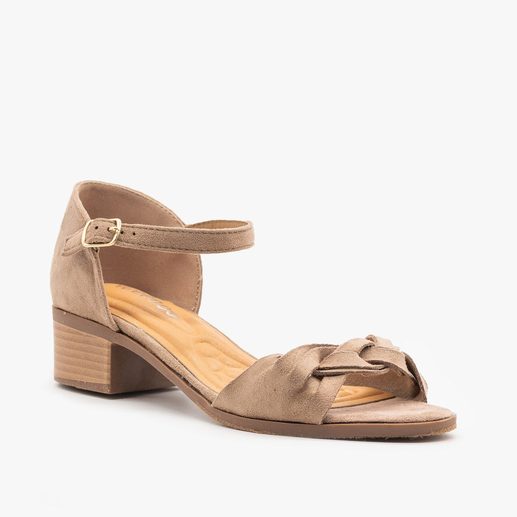 Womens Woven Strap Low Block Heels - Weeboo - Taupe / 5