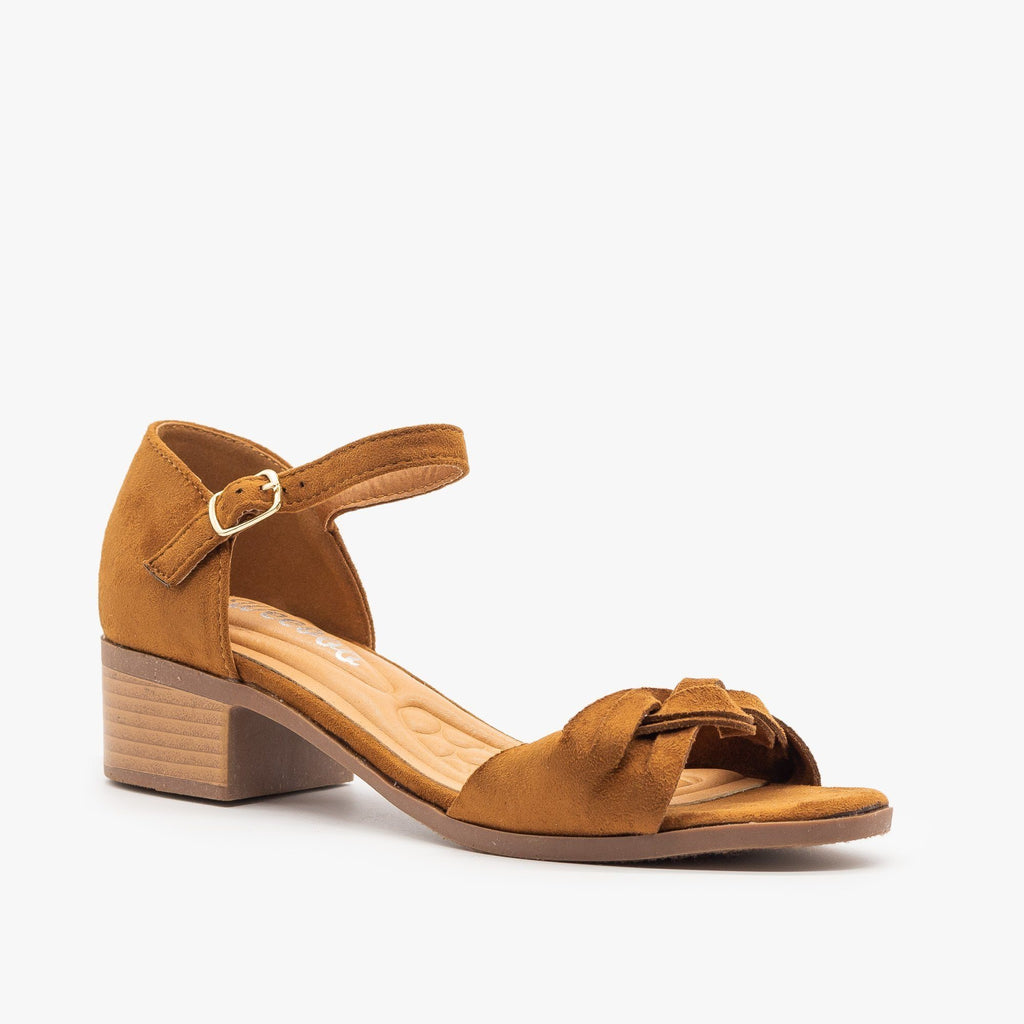Womens Woven Strap Low Block Heels - Weeboo - Tan / 5