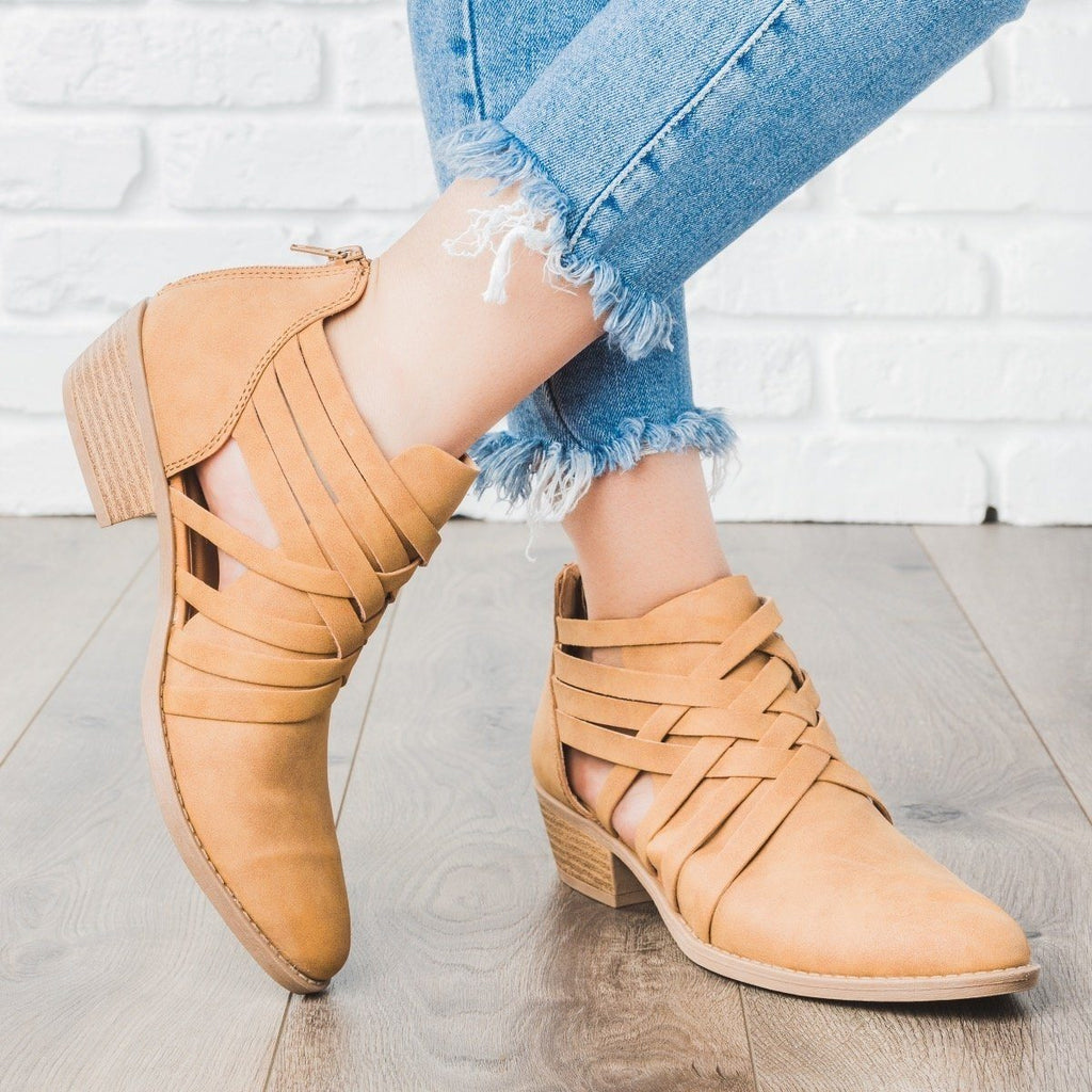 Womens Woven Strappy Ankle Booties - Qupid Shoes