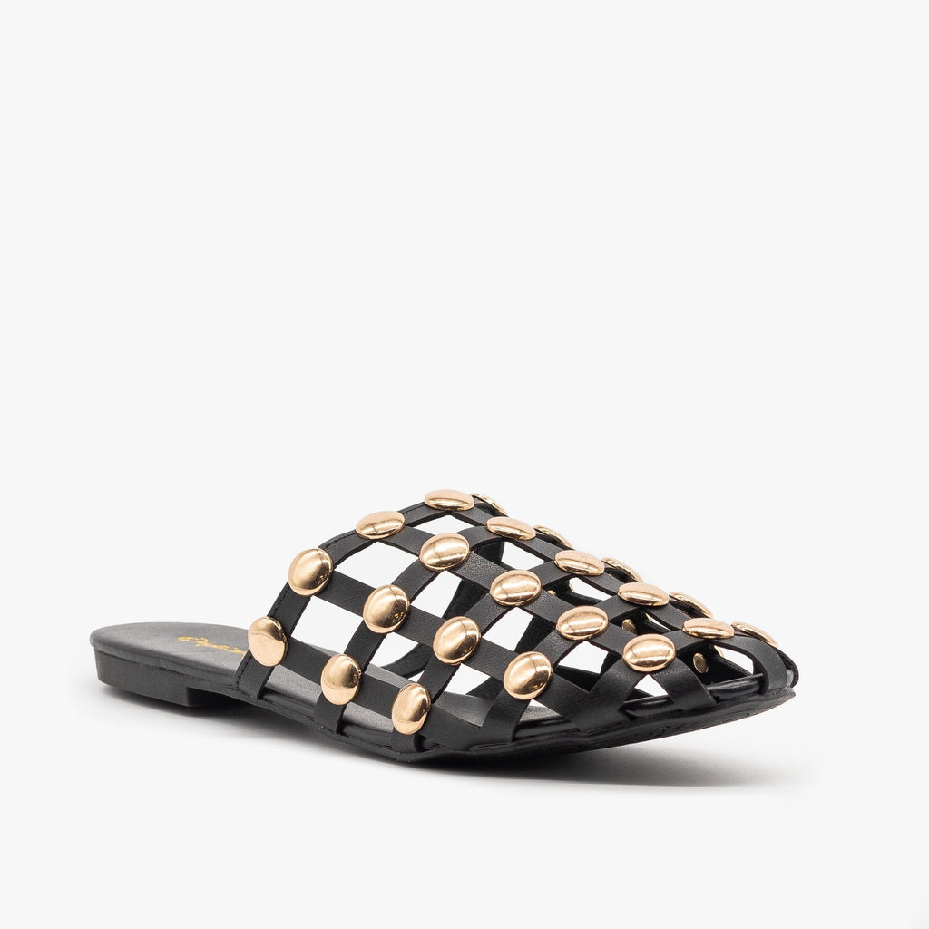 Womens Woven Studded Mules - Qupid Shoes - Black / 5