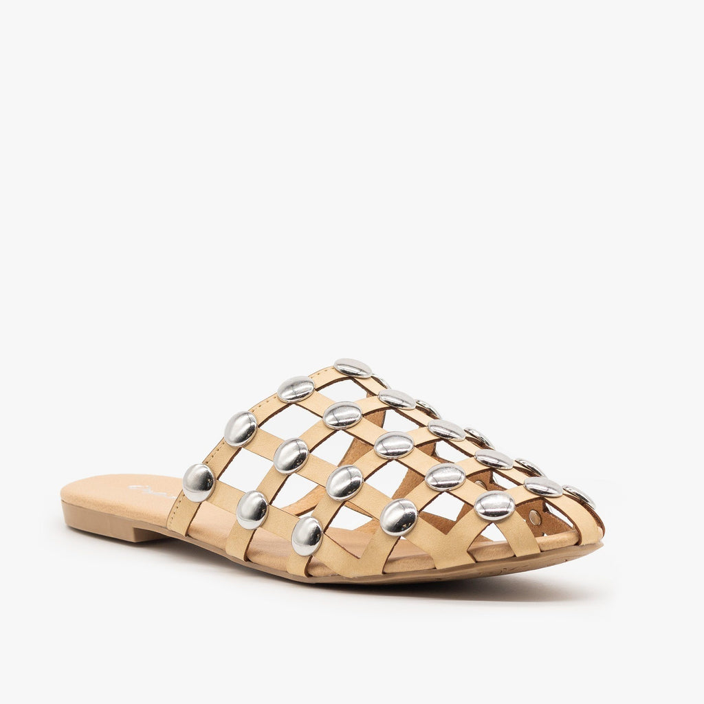 Womens Woven Studded Mules - Qupid Shoes - Nude / 5
