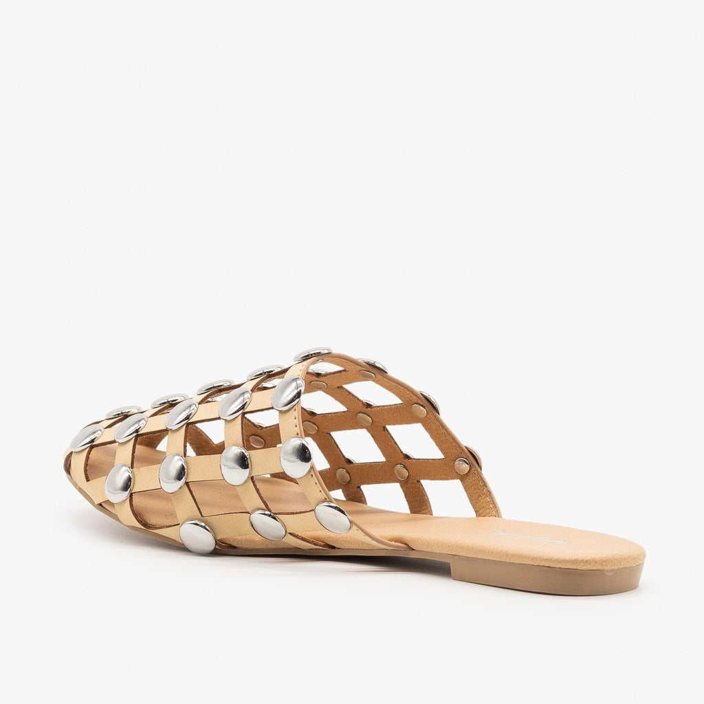 Womens Woven Studded Mules - Qupid Shoes