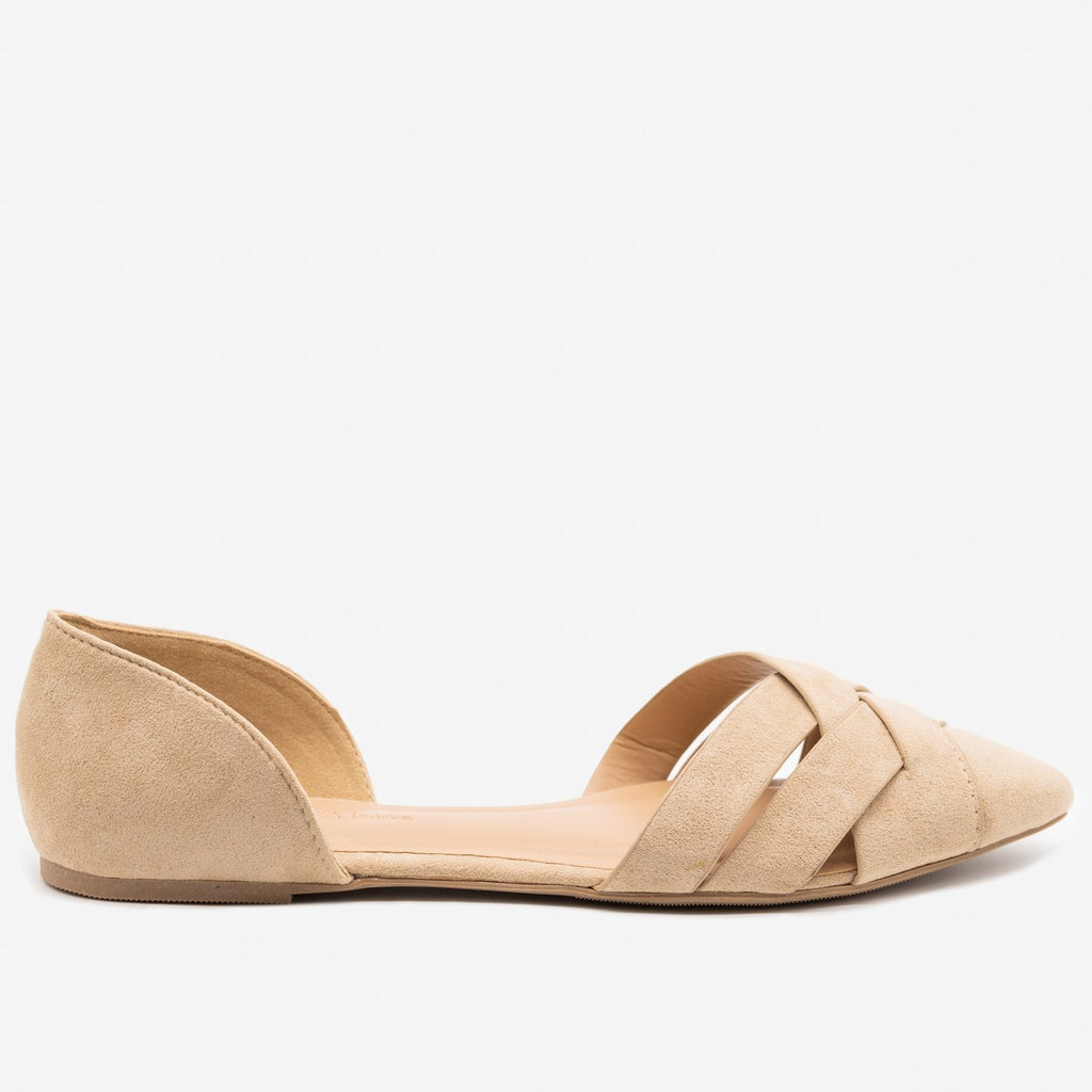 Women's Woven Toe d'Orsay Flats - Wild Diva Shoes - Taupe / 5