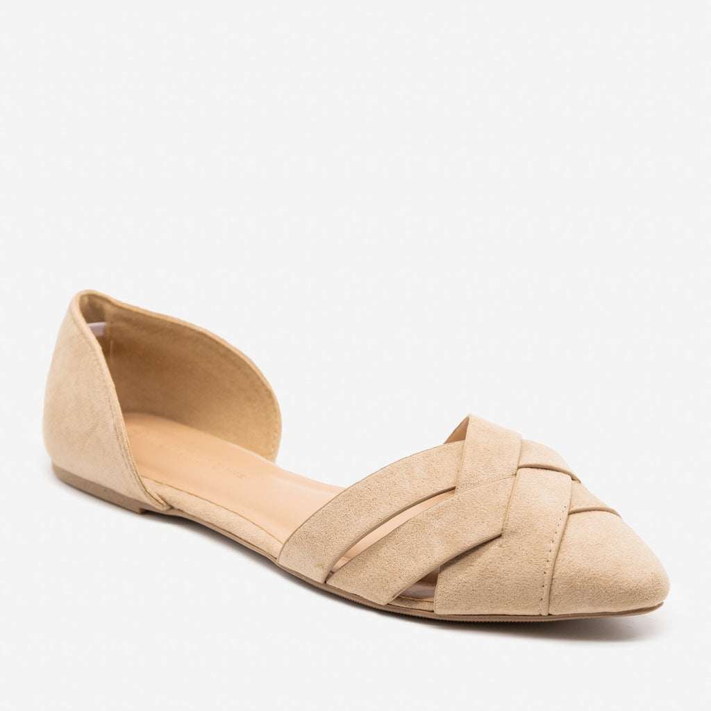 Women's Woven Toe d'Orsay Flats - Wild Diva Shoes