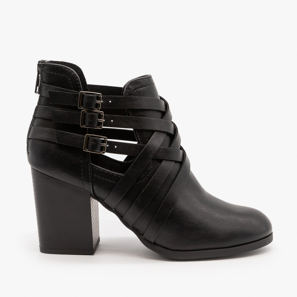 Womens Woven Triple Buckle Booties - Soda Shoes - Black / 5